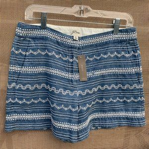 J Crew Womens Embroidered Denim Shorts Sz 6